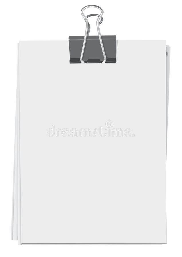 Binder clip and paper sheets. Binder clip and stack of paper sheets(CMYK vector illustration
