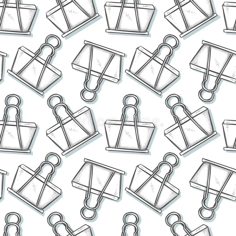 Binder Clip, sketch seamless pattern background. Cartoon style royalty free illustration