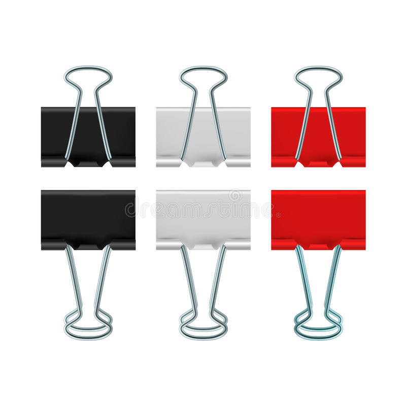Binder clips icon, realistic style. Binder clips icon in realistic style on a white background royalty free illustration
