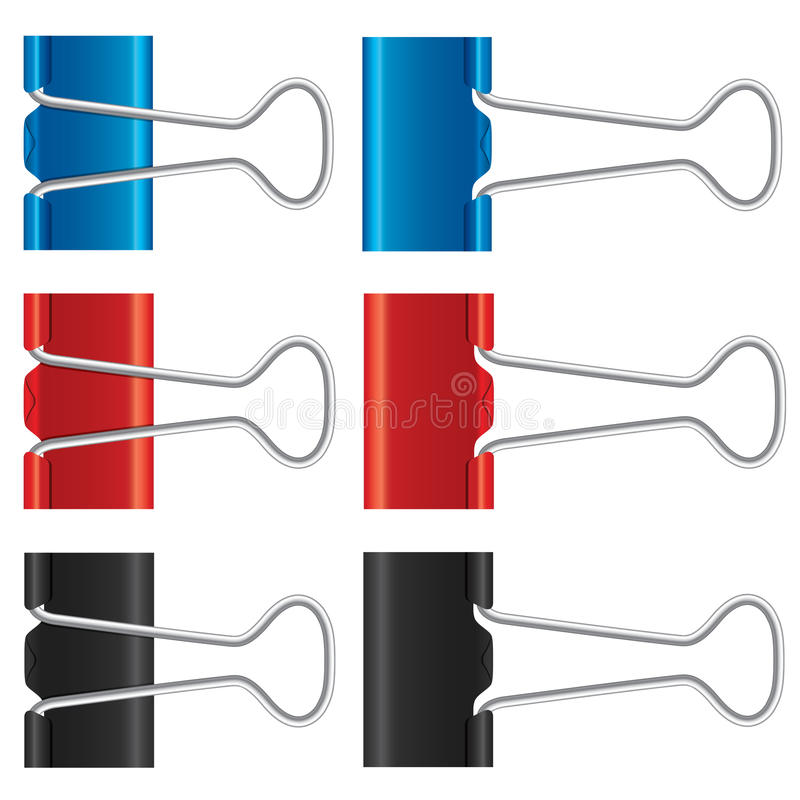 Binder clips set. Paper clips collection. Illustration on white background. Isolated metal icons stock illustration
