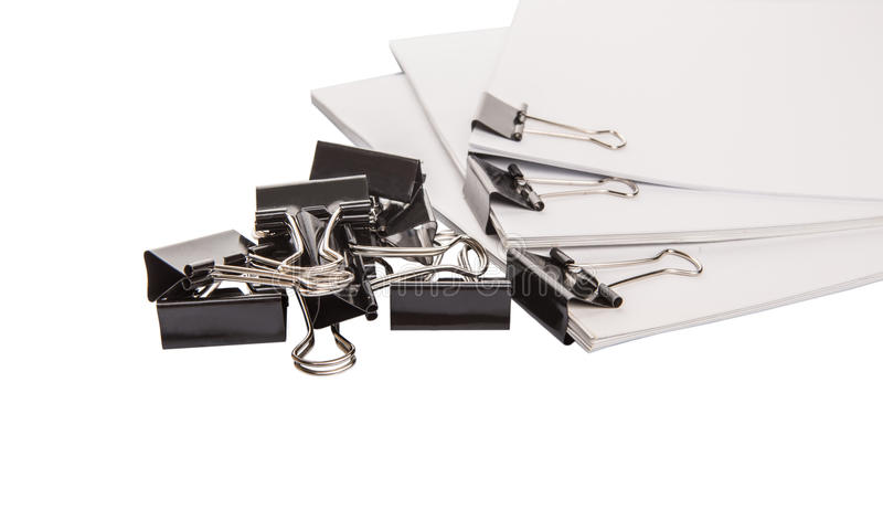 Binder Clips And White Paper III stock image