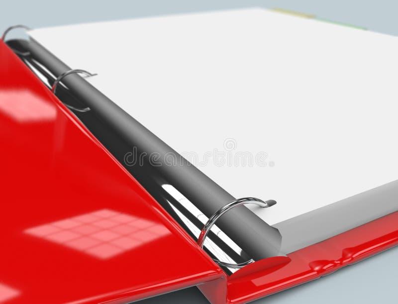 Binder Close Up. Close up of red binder stock illustration