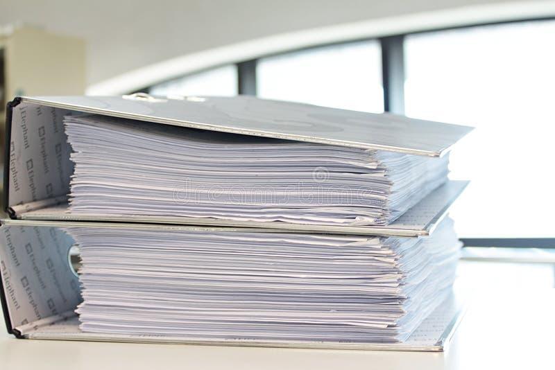 Binder file folder on the table. Binder file folder, document file or stationery office folder on the table stock image