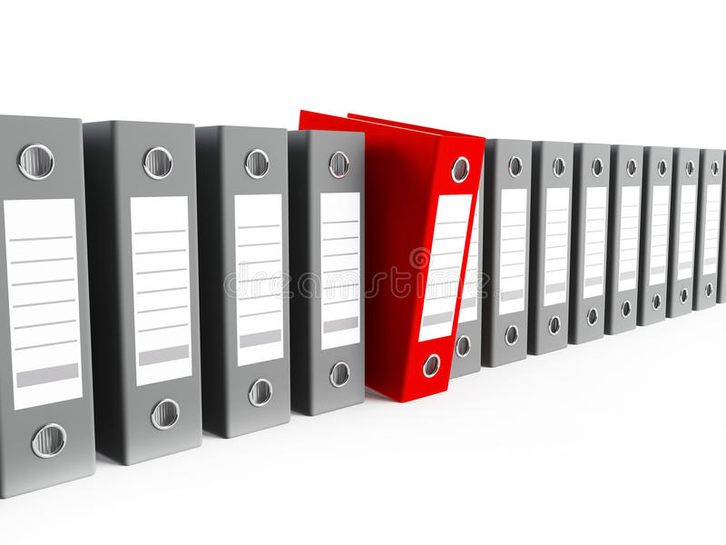 Binders. 3D rendering of a row of archive binders royalty free illustration
