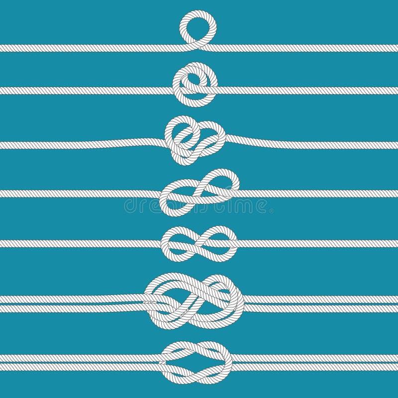 Bindung des Knotens Gebundene Seilseeknoten, Schiffstaus und Heiratstauwerkteilervektorillustrationssatz stock abbildung
