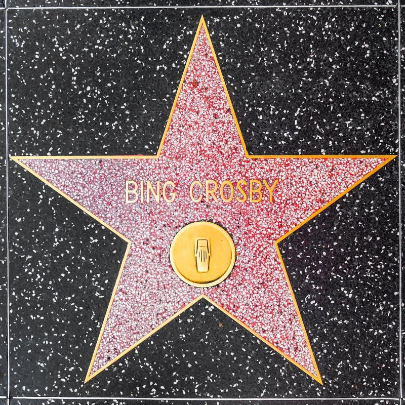 Bing Crosbys-ster op Hollywood-Gang van Bekendheid stock foto's