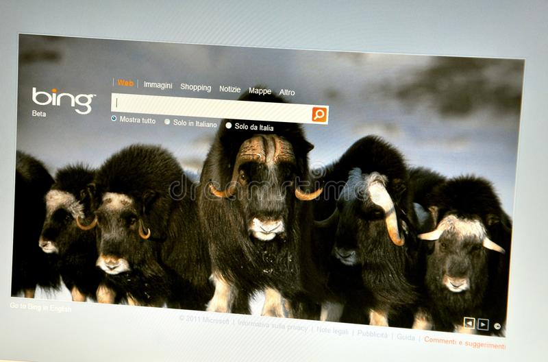 Bing Italy website stock image