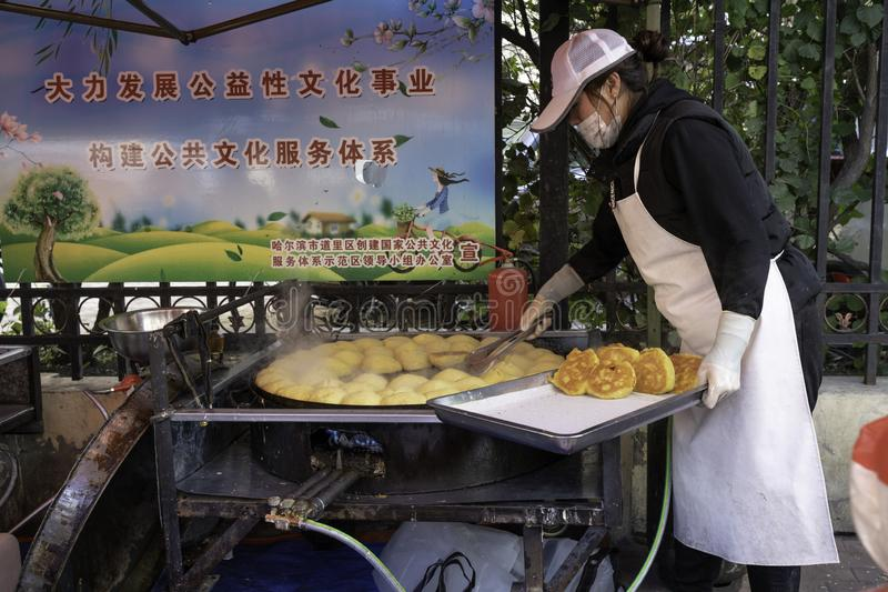 Bing and mian bao bread, chinese street-foods royalty free stock photo