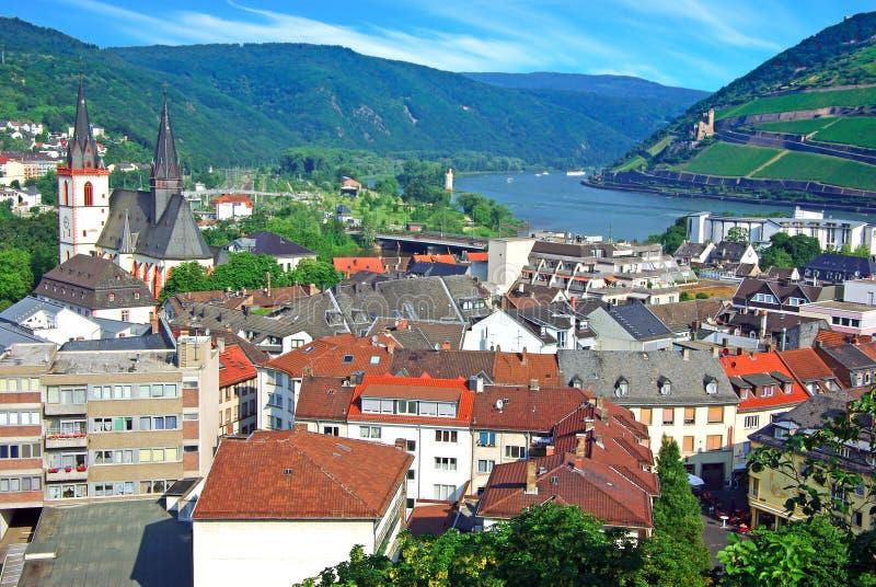 Bingen morgens Rhein stockfotografie