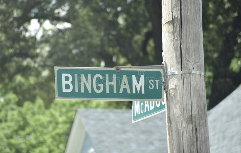 Bingham Street in Binghamton Memphis, TN. Binghampton is a neighborhood on an edge of Midtown in Memphis, Tennessee. It is named after WH Bingham, an Irish royalty free stock photography