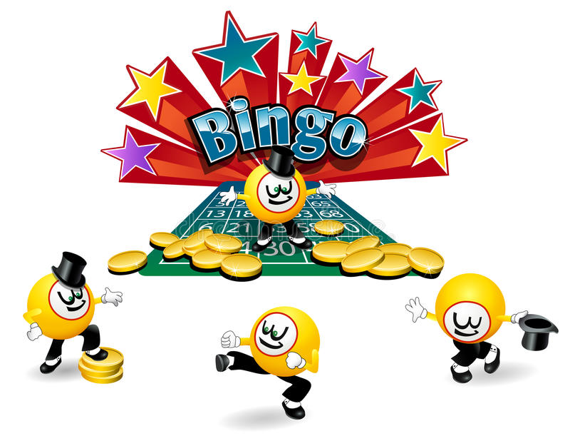 Bingo ball character. Bingo ball cartoon character with different active poses stock illustration