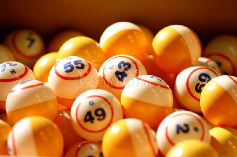 Bingo Balls. In box stock images