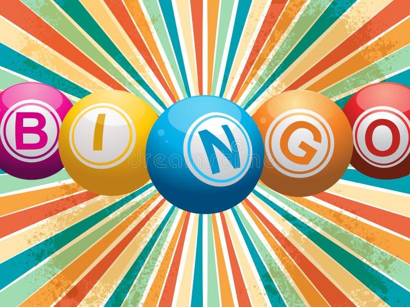 Bolas do Bingo no starburst retro ilustração royalty free