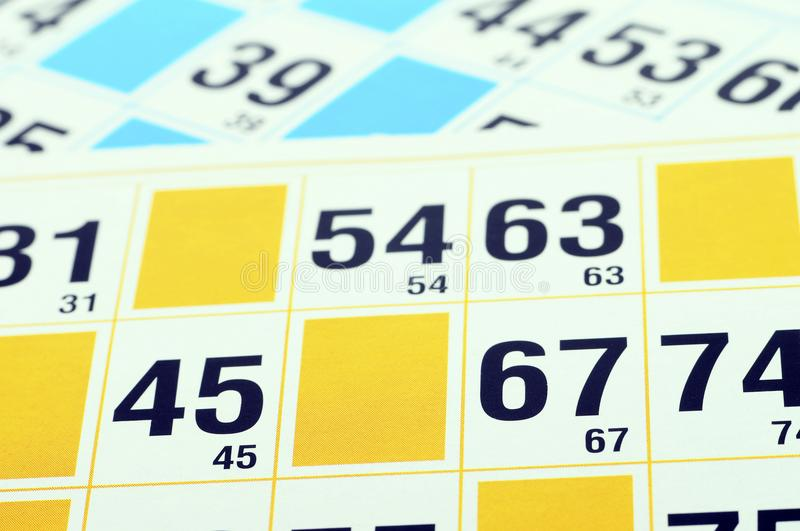 Bingo cards close up royalty free stock images