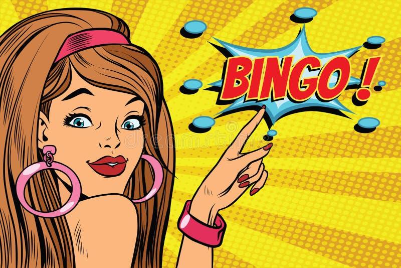 Bingo de la mujer del arte pop stock de ilustración