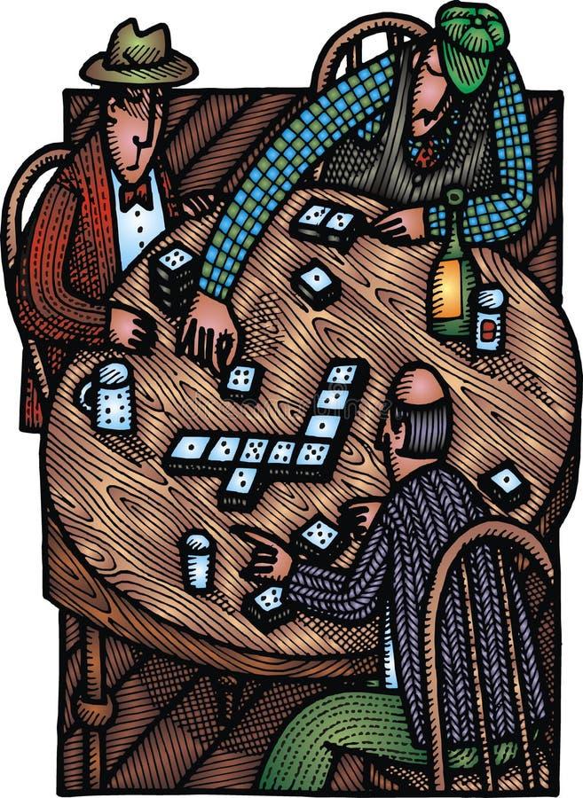 Bingo del gioco degli uomini anziani illustrazione di stock