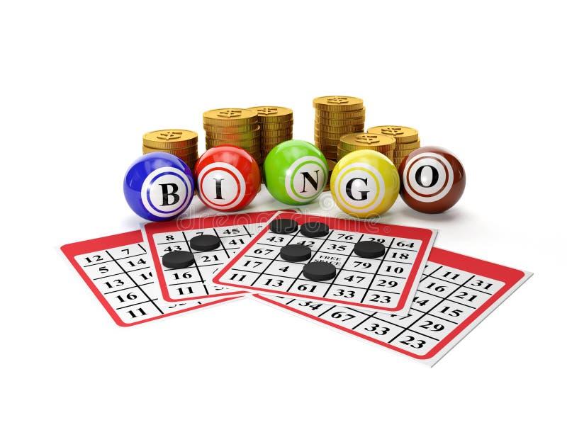 Bingo di lotteria e un gruppo di monete di oro illustrazione di stock