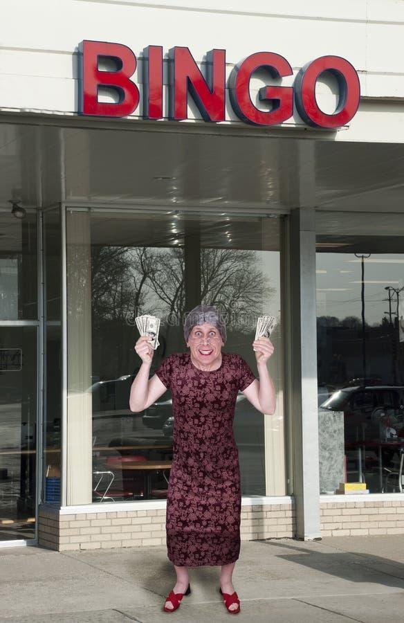 bingo gotówkowego śmiesznego babci sala pieniądze stara wygrana zdjęcia royalty free