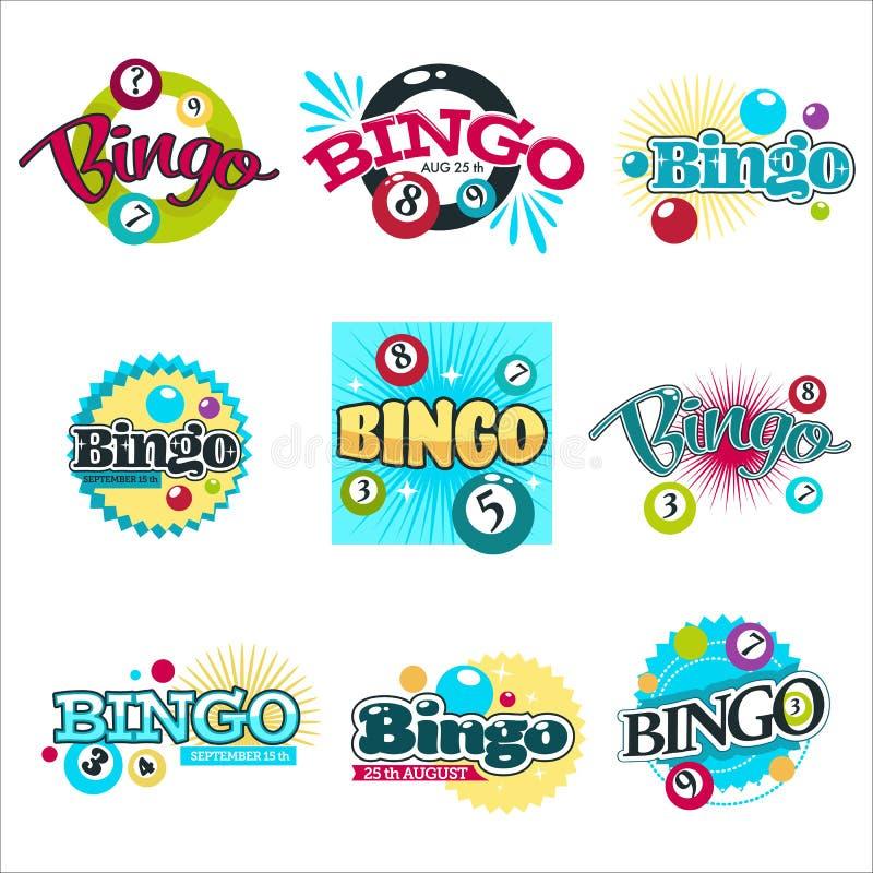 Bingo gra odizolowywa? ikony uprawia hazard wyposa?enie pi?ki z liczbami ilustracji