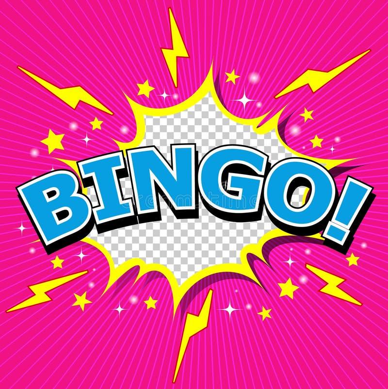 Bingo! Grappige Toespraakbel, Beeldverhaal vector illustratie