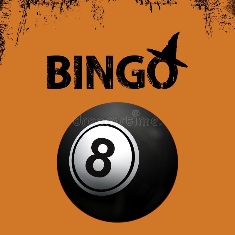 Bingo grunge Halloweenowy tło i czarna piłka ilustracji