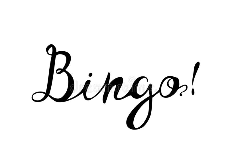 bingo Hand schriftliches Aufschriftschwarzes auf Weiß stock abbildung