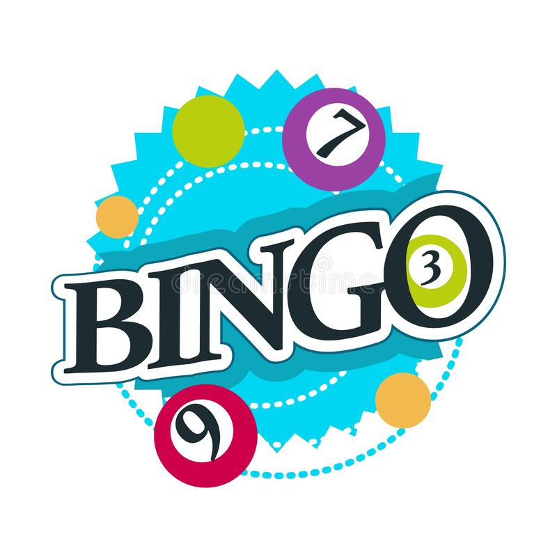 Bingo isolated icon with lettering casino gambling club vector illustration
