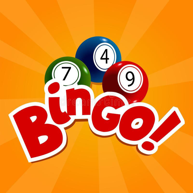 Bingo karta z colourful liczbami i piłkami ilustracja wektor