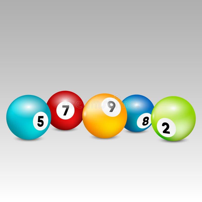 Bingo loterii piłki Wektorowe loterii liczby piłki ustawiają kolorowego również zwrócić corel ilustracji wektora royalty ilustracja
