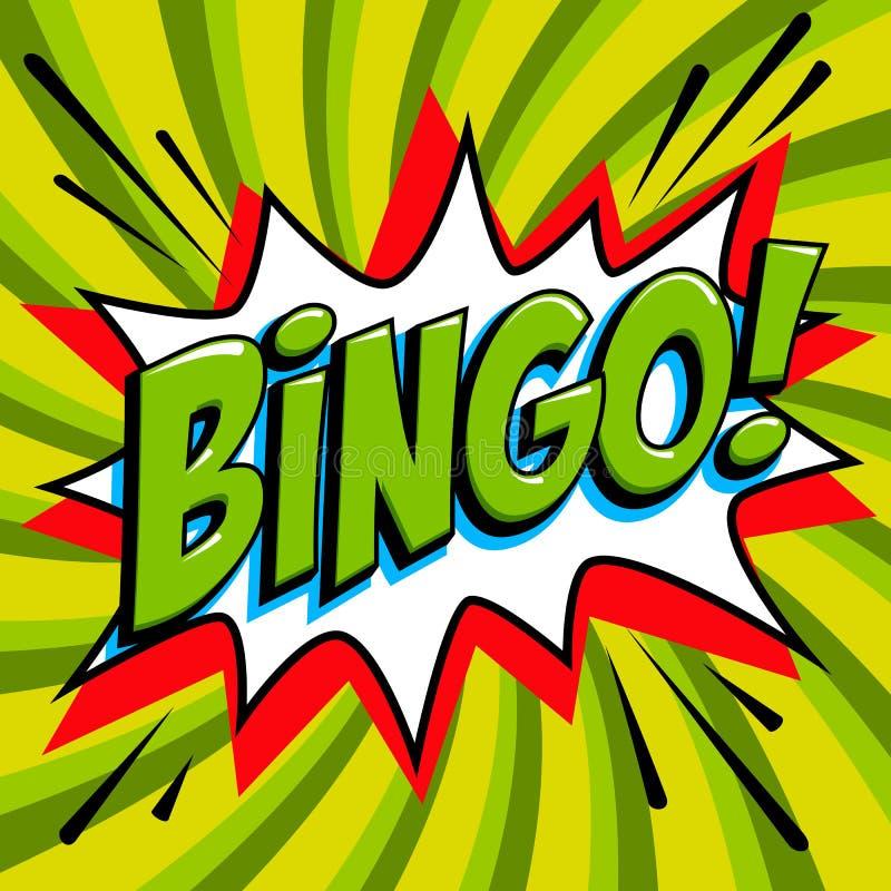 Bingo loterii plakat Loteryjny gemowy tło Komiczki sztuki stylu uderzenia kształt na czerwonym kręconym tle ilustracja wektor