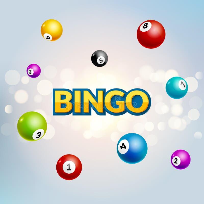 Bingo loterii plakat Piłek liczb szczęścia spada pojęcie ilustracja wektor