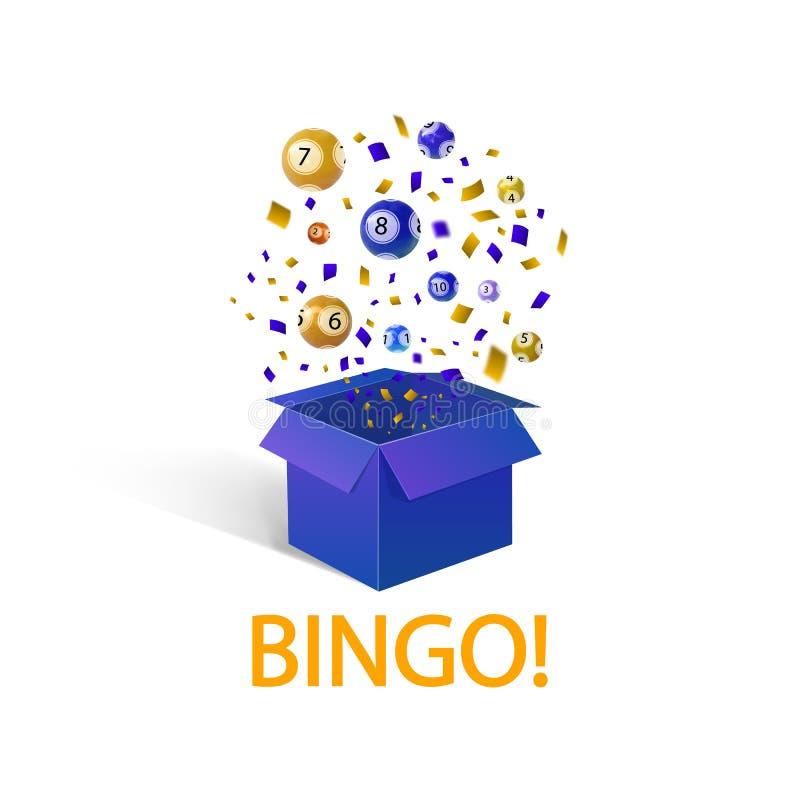 Bingo loteryjne piłki, WEKTOROWA ilustracja, otwierają pudełko i formułują: ` BINGO `, zwycięzcy pojęcie royalty ilustracja