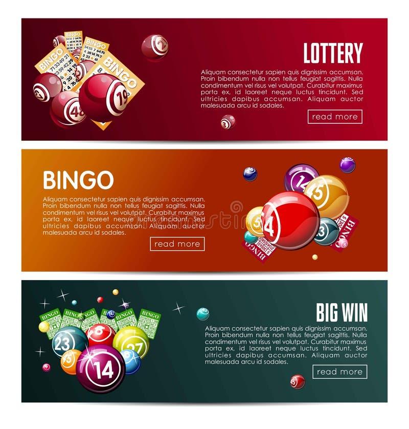 Bingo loteryjnej online loteryjki sieci sztandarów gemowi wektorowi szablony ustawiający ilustracji