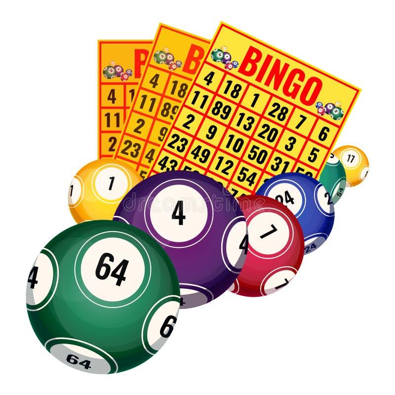 Bingo loteryjni bilety i piłek ikon realistyczna wektorowa ilustracja odizolowywająca ilustracji