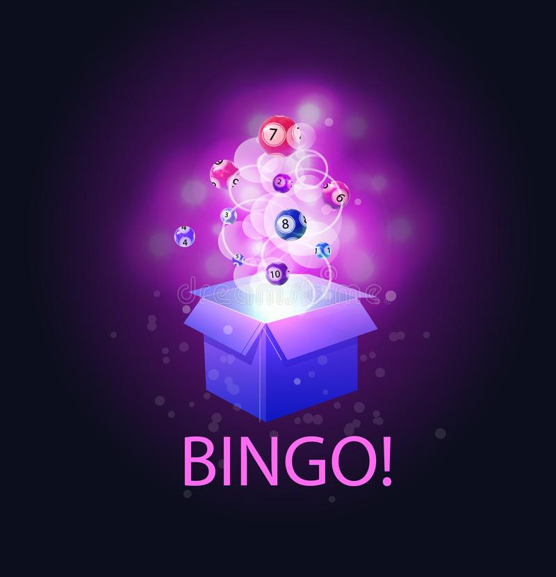 Bingo lottery balls, magic VECTOR illustration, open box and word: `BINGO`, abstract glowing lights. Bingo lottery balls, magic VECTOR illustration, open box royalty free illustration