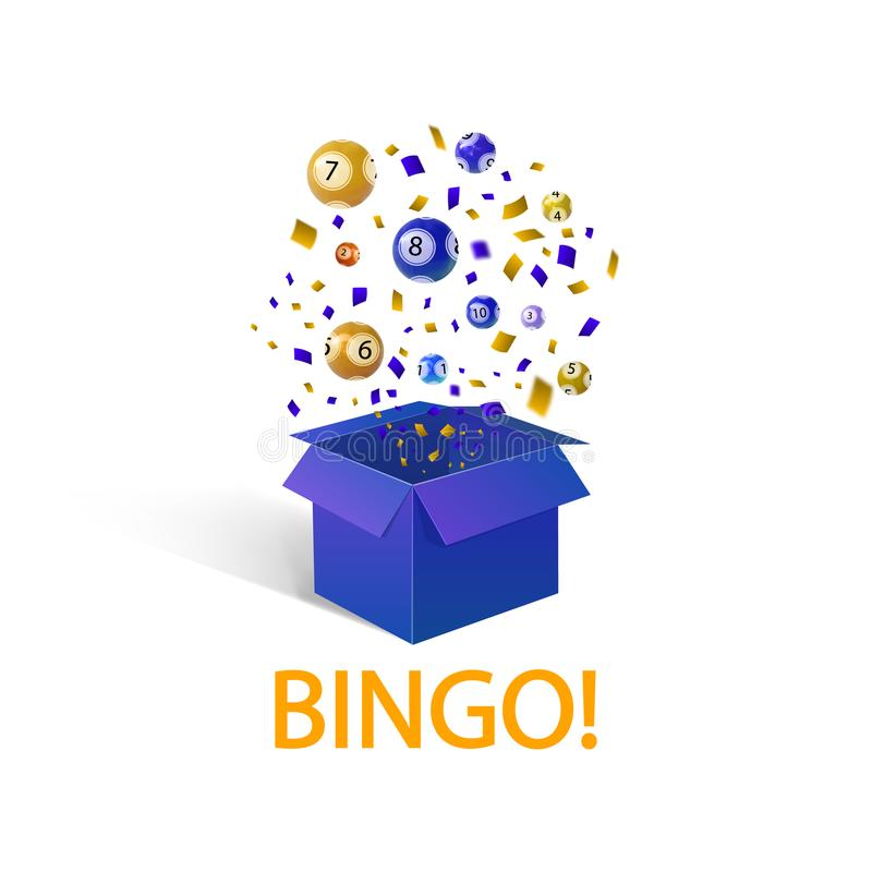 Bingo lottery balls, VECTOR illustration, open box and word: `BINGO`, Winner concept. Bingo lottery balls, VECTOR illustration, open box and word: `BINGO` royalty free illustration