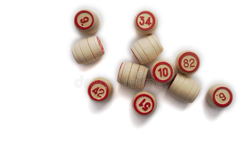 Bingo or lotto game. Wooden kegs of lotto on cards.  stock photos