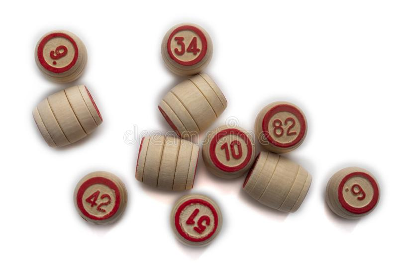 Bingo or lotto game. Wooden kegs of lotto on cards.  royalty free stock photography
