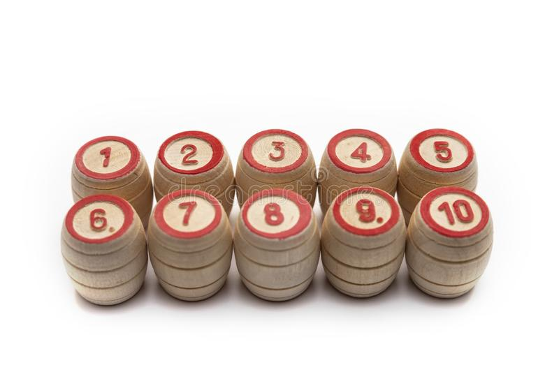 Bingo or lotto game. Wooden kegs of lotto on cards.  royalty free stock images