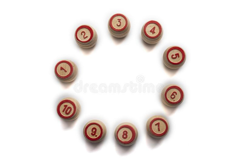 Bingo or lotto game. Wooden kegs of lotto on cards.  stock image