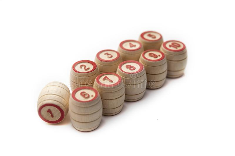 Bingo or lotto game. Wooden kegs of lotto on cards.  stock images