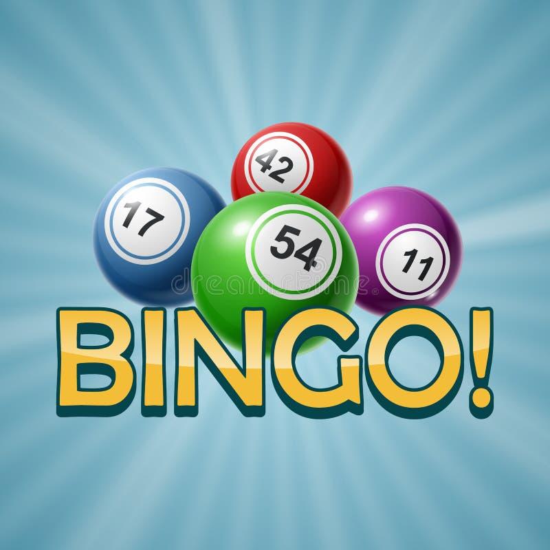 Bingo lub loterii Numerowe piłki Ustawiają Kolorowego r?wnie? zwr?ci? corel ilustracji wektora ilustracji
