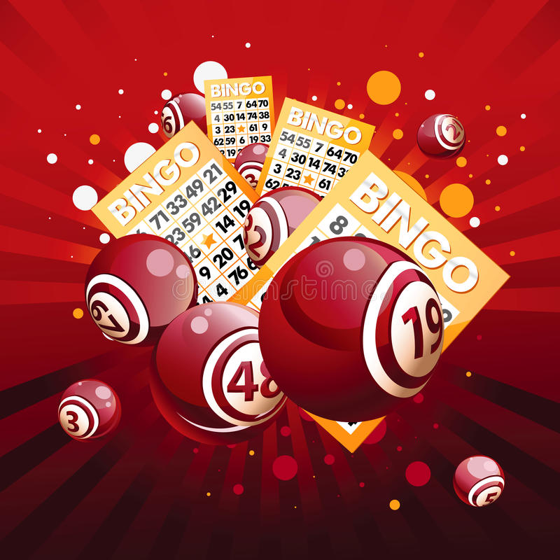 Bingo ou esferas e cartões da lotaria ilustração royalty free