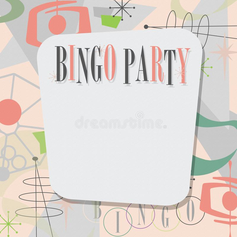Bingo Party Invitation Mid Century Modern Cool vector illustration