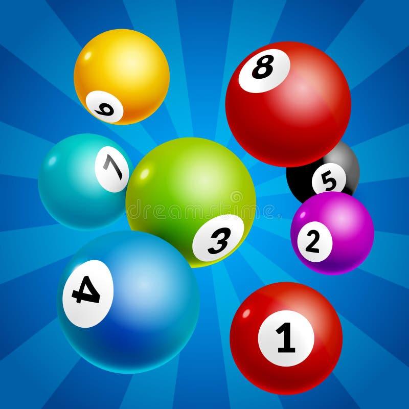 Bingo piłek liczb loteryjny tło Loteryjne gemowe piłki ilustracji