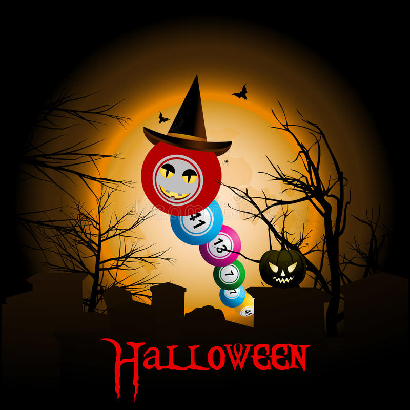 Bingo piłki z Halloweenowym kapeluszowym tłem ilustracja wektor