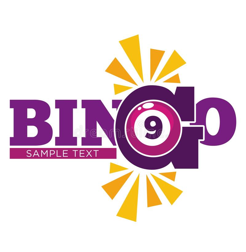 Bingo promotional emblem witn numbered ball and sample text. Bingo promotional emblem with purple numbered ball and sample text isolated cartoon flat vector stock illustration