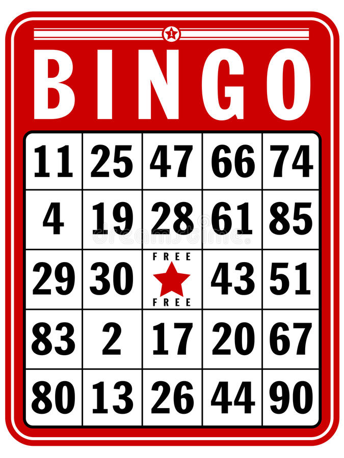 Bingo Score Card. An illustration of a classic score card for the game of Bingo