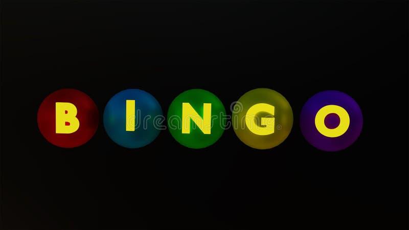 Bingo tekst i piłki świadczenia 3 d fotografia stock