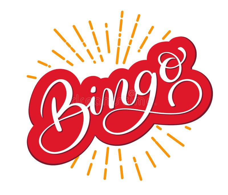 Bingo-Wort Schöne verkratzte Kalligraphie der Grußkarte Hand gezeichnetes Einladung T-Shirt Druckdesign handgeschrieben lizenzfreie abbildung